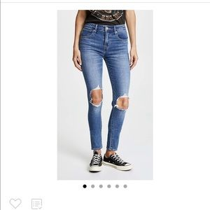 Levi's 721 High Rise Distressed Skinny Jeans 25